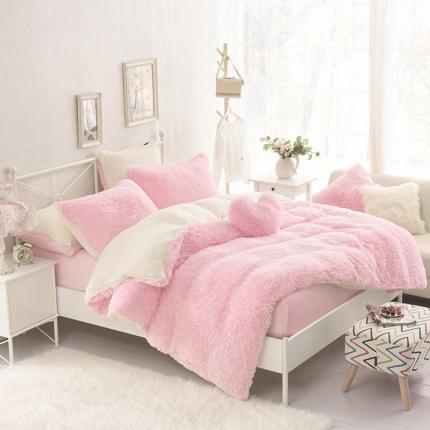 桔子家纺 2016新色水貂绒四件套床裙款 粉色