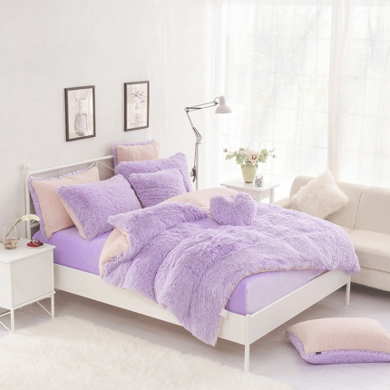 桔子家纺 2016新色水貂绒四件套床裙款 紫粉