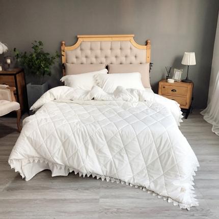 (总)桔子家纺 全棉贡缎西西里绗缝床裙款系列四件套