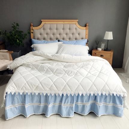 桔子家纺 全棉贡缎绗缝床裙款系列四件套西西里(白被蓝裙)