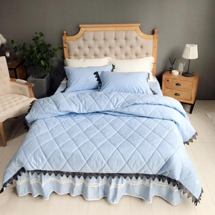 桔子家纺 全棉贡缎西西里绗缝床裙款系列四件套西西里(蓝)