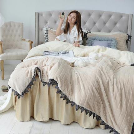 桔子家纺 兔兔雕花绒四件套床单款兔兔绒驼
