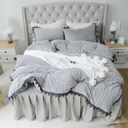桔子家纺 兔兔雕花绒四件套床单款兔兔绒烟灰