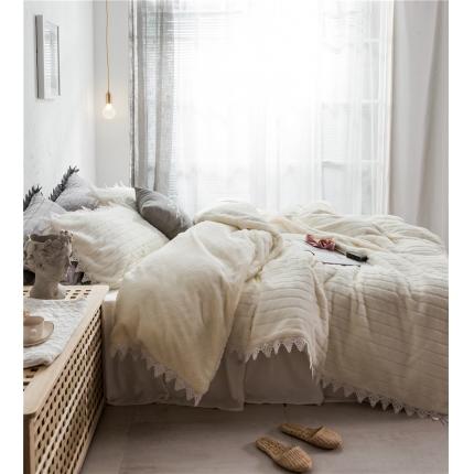 桔子家纺 兔兔雕花绒系列三件套四件套床单款实拍 白