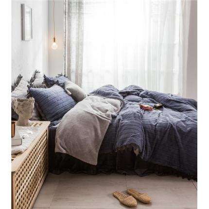 桔子家纺 兔兔雕花绒系列三件套四件套床单款实拍 藏蓝