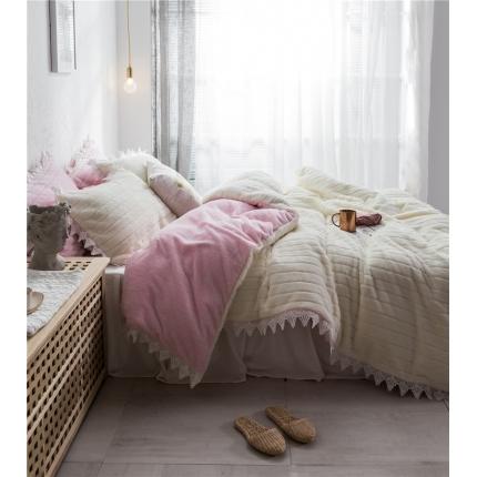 桔子家纺 兔兔雕花绒系列三件套四件套床单款实拍 粉白