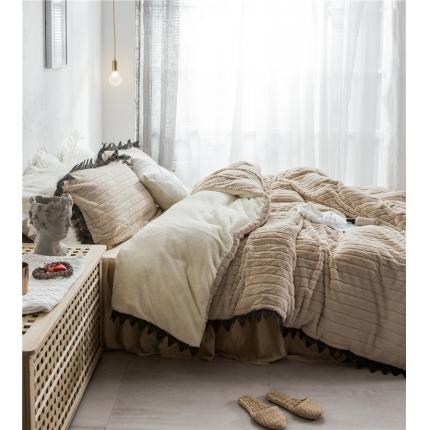 桔子家纺 兔兔雕花绒系列三件套四件套床单款实拍 驼