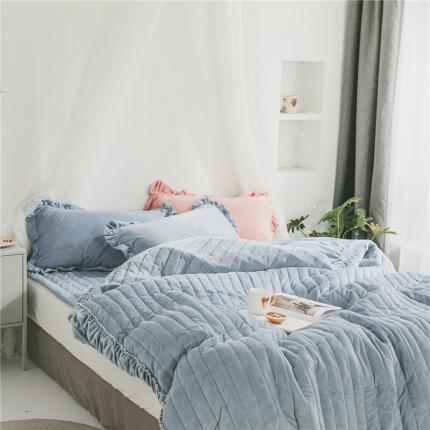 桔子家纺 水晶绒绗缝四件套竖条 竖条-雾霾蓝
