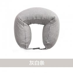 阁金良品家纺 2018新款无印良品风U型枕护颈枕 灰白条