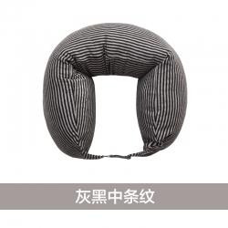 阁金良品家纺 2018新款无印良品风U型枕护颈枕 灰黑中条纹