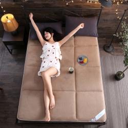 首爱家纺 2018新款珊瑚绒床垫 卡其色 床垫