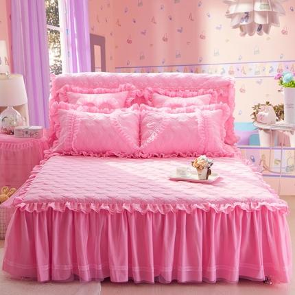 好儿喜家纺 浪漫满屋系列全棉单品床裙 粉色