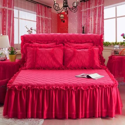 好儿喜家纺 浪漫满屋系列全棉单品床裙 玫红色