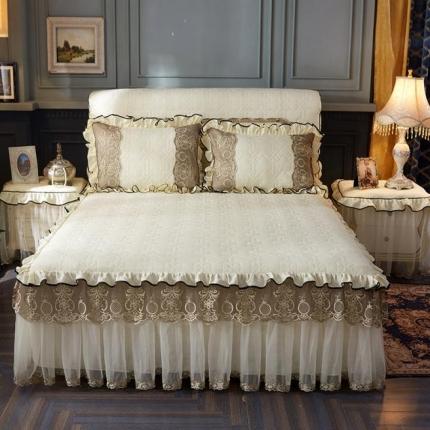 好儿喜家纺 巴黎之夜床裙色织水洗棉夹棉款 巴黎之夜-米色