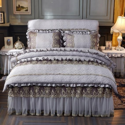好儿喜家纺 巴黎之夜四件套水洗棉夹棉款套件巴黎之夜-浅灰色