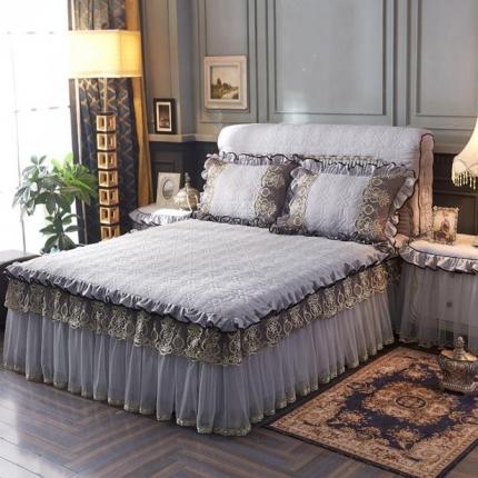 好儿喜家纺 巴黎之夜床裙色织水洗棉夹棉款 巴黎之夜-浅灰色