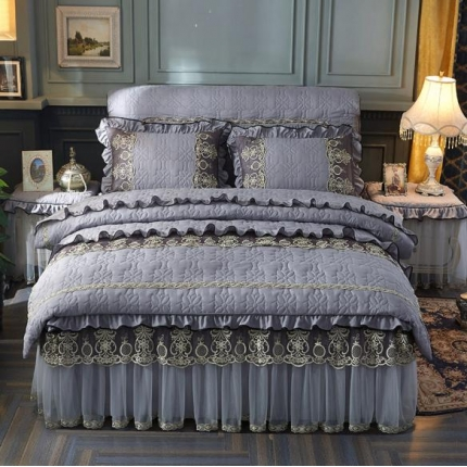 好儿喜家纺 巴黎之夜四件套水洗棉夹棉款套件巴黎之夜-深灰色