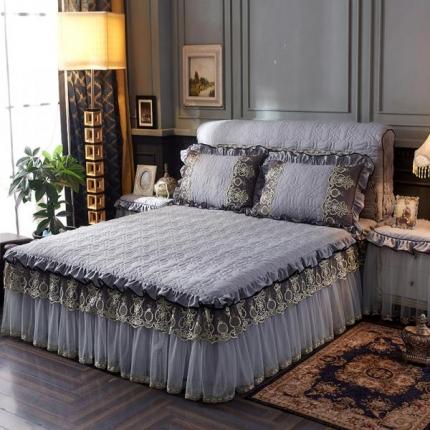 好儿喜家纺 巴黎之夜床裙色织水洗棉夹棉款 巴黎之夜-深灰色