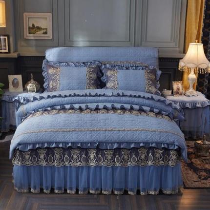 好儿喜家纺 巴黎之夜四件套水洗棉夹棉款套件巴黎之夜-深蓝色