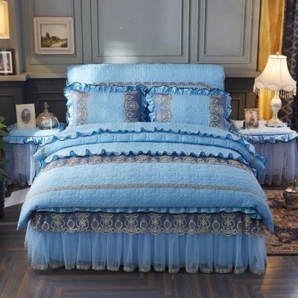 好儿喜家纺 巴黎之夜四件套水洗棉夹棉款套件巴黎之夜-水蓝色