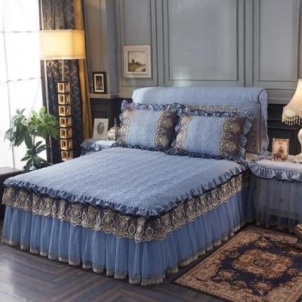 好儿喜家纺 巴黎之夜床裙色织水洗棉夹棉款 巴黎之夜-深蓝色