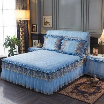 好儿喜家纺 巴黎之夜床裙色织水洗棉夹棉款 巴黎之夜-水蓝色