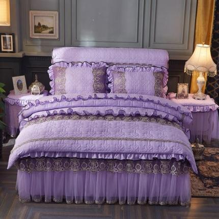 好儿喜家纺 巴黎之夜四件套水洗棉夹棉款套件巴黎之夜-紫色