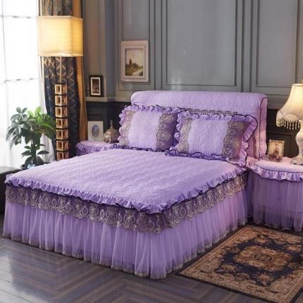 好儿喜家纺 巴黎之夜床裙色织水洗棉夹棉款 巴黎之夜-紫色