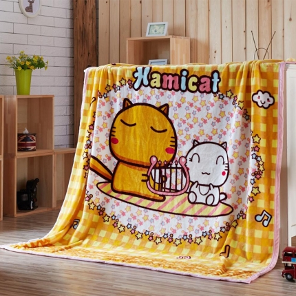 荣轩家纺 法莱绒加厚童毯盖毯毛毯珊瑚绒毯 哈咪陪你
