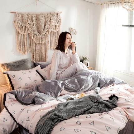 (总)荣轩家纺 拉舍尔保暖加厚水晶绒四件套床笠款