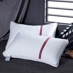梦莉丝枕业 全棉贡缎三色英伦风五星酒店羽丝绒枕头枕芯