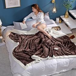 柠栀毯业 贝贝绒拼法莱绒毛毯沙发毯午睡毯双人 B深褐色