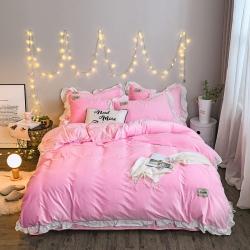 阿芙曼 新款双面水晶绒四件套 粉红色