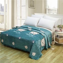 小米家 新款多功能水晶绒纯棉床盖密道绗缝被2米 小熊