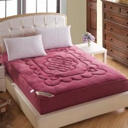 敢为床垫 法莱绒360度床笠式床垫 酒红色