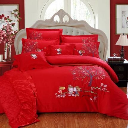 浩情国际 全棉色布精制绣花四件套六件套套件 爱情树