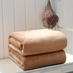 来菲家纺 纯色金貂绒毛毯驼色