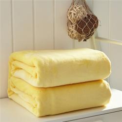 来菲家纺 纯色金貂绒毛毯鹅黄