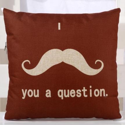 甜家美居 棉麻数码印花抱枕被 咖啡胡子