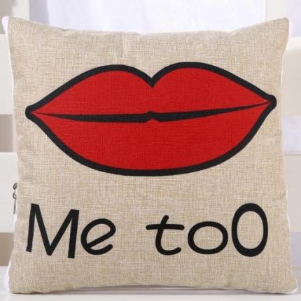 甜家美居 棉麻数码印花抱枕被 吻痕