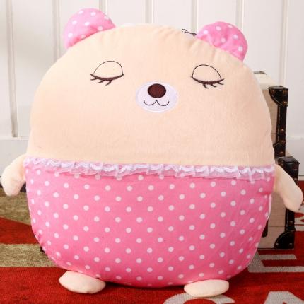 甜家美居 多功能短毛绒卡通抱枕被 粉点小熊