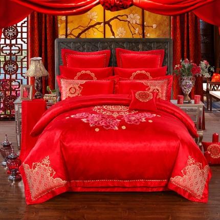 浩情国际 全棉贡缎提花婚庆多件套 幸福曼舞-中国红