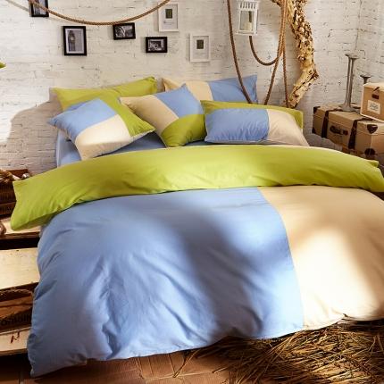 风向标家纺 全棉活性三拼色四件套撞色床品套件床单款马尔代夫