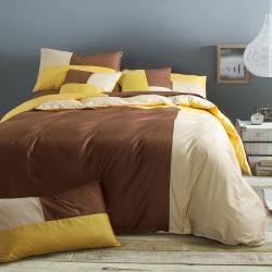 风向标家纺 全棉活性三拼色四件套撞色床品套件床单款卡布基诺