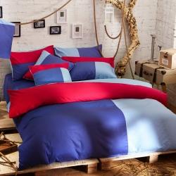 风向标家纺 全棉活性三拼色四件套撞色床品套件床单款温情蓝调