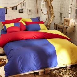 风向标家纺 全棉活性三拼色四件套撞色床品套件床单款欧培拉