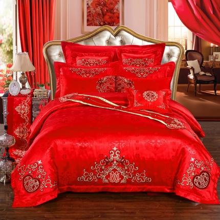 皇家传奇 婚庆多件套系列 双喜临门床旗版