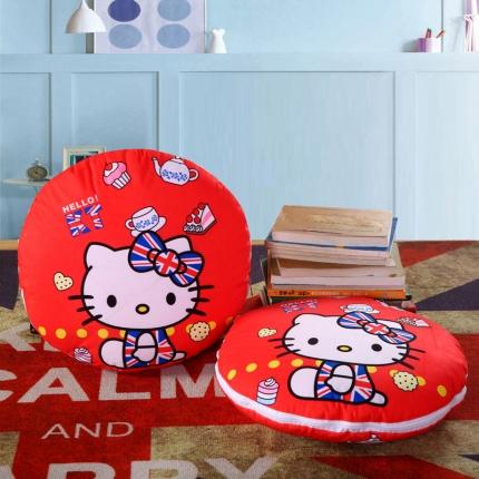 甜家美居 2016卡通定位圆形绗缝抱枕被蛋糕KT猫