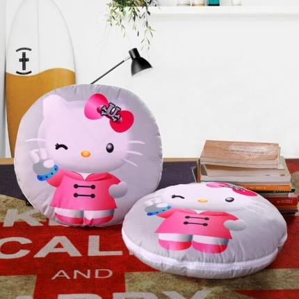 甜家美居 2016卡通定位圆形绗缝抱枕被吉祥KT猫