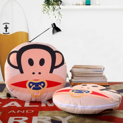 甜家美居 2016卡通定位圆形绗缝抱枕被奶嘴猴